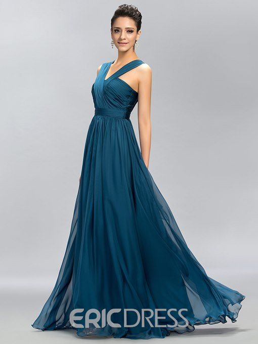 Simple Sleeveless Floor-Length Chiffon A-Line Bridesmaid Dress