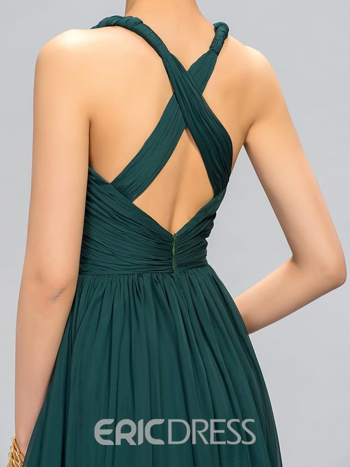 Ericdress V-Neck Straps A-Line Evening Dress With Criss-coss Back