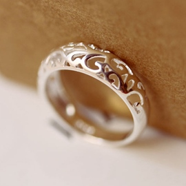 Ericdress Hollow Floral Sterling Silver Ring