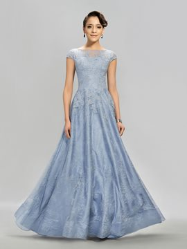 Bateau A-line Lace Floor-Length Evening Dress