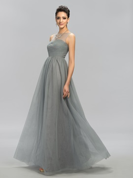 Concise Ruched Bateau A-line Floor-Length Evening Dress