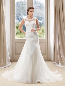 Scoop Neck Appliques Ruched Court Train Wedding Dress
