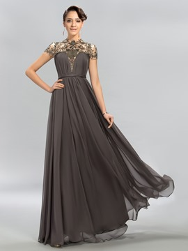 High Neck Beading A-Line Evening Dress