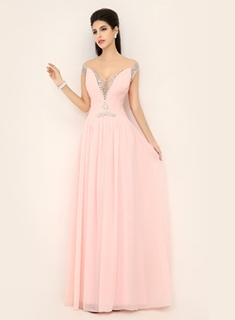 Ericdress Fantastic Off-Shoulder Beaded Floor-Length Evening Dress