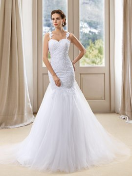 Sexy Trumpet Straps Applique Tulle Wedding Dress