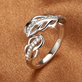 Ericdress Hollow Feather Cubic Zirconia Ring