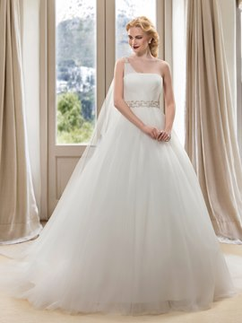 One Shoulder Beading A-Line Wedding Dress