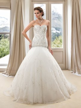 Sweetheart Embroidery Mermaid Wedding Dress