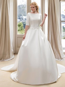 Modest Bateau Neck Half Sleeve Satin Ball Gown Wedding Dress with Watteau Train