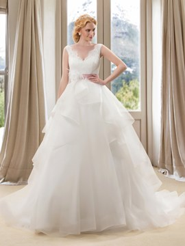 Charming Beaded Lace V-Neck Ivory Wedding Dress with Satin Sash