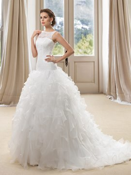 Bateau Lace Ruffles Wedding Dress