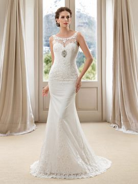 Delicate Scoop Neck Appliques Mermaid Court Train Wedding Dress