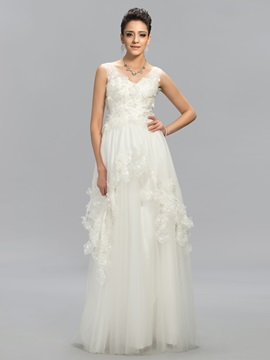 A-Line V-Neck Applique Tiered Floor-Length Evening Dress