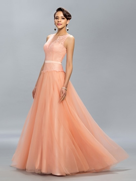 Lace A-Line Floor Length Evening Dress