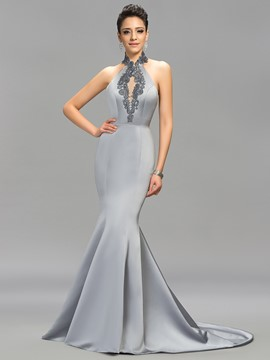 Classic Halter Mermaid Backless Long Evening Dress