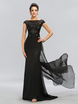 Mysterious Lace Bateau Cap Sleeves Long Evening Dress
