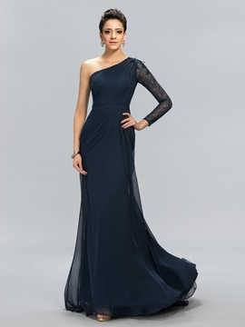 One Shoulder Lace Mermaid Floor-Length Evening Dress