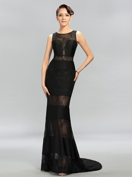 Timeless Lace Jewel Neck Beading Court Train Evening Dress