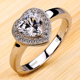 Ericdress Heart Design Diamond Ring