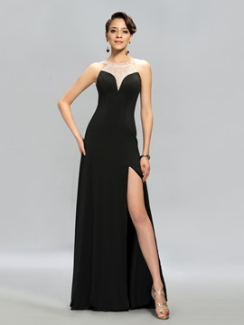 Delicate Beading Floor-Length Side-Split Evening Dress