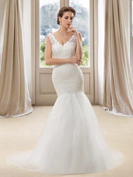 Sexy Trumpet Straps Beaded Zipper-Up Wedding Dress
