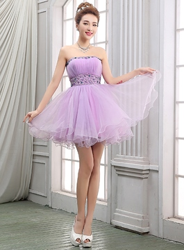 Empire bretelles a-ligne mignon Crystal volants court Homecoming robe
