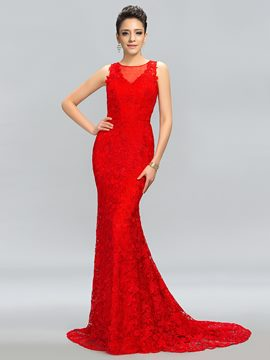 Timeless Tulle Lace Button Long Evening Dress
