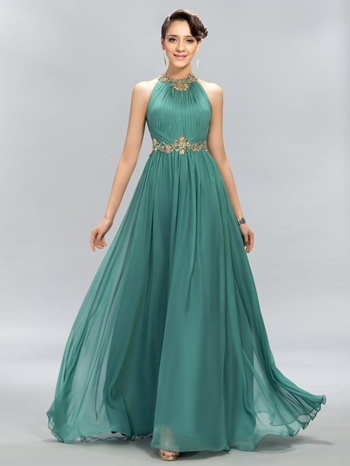 Pretty Jewel Beading A-Line Evening Dress