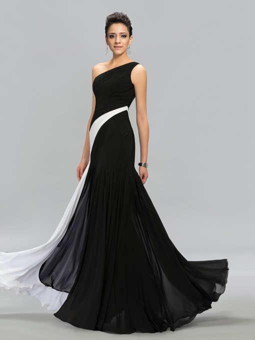 Ericdress Contrast Color Ruched One-Shoulder Evening Dress