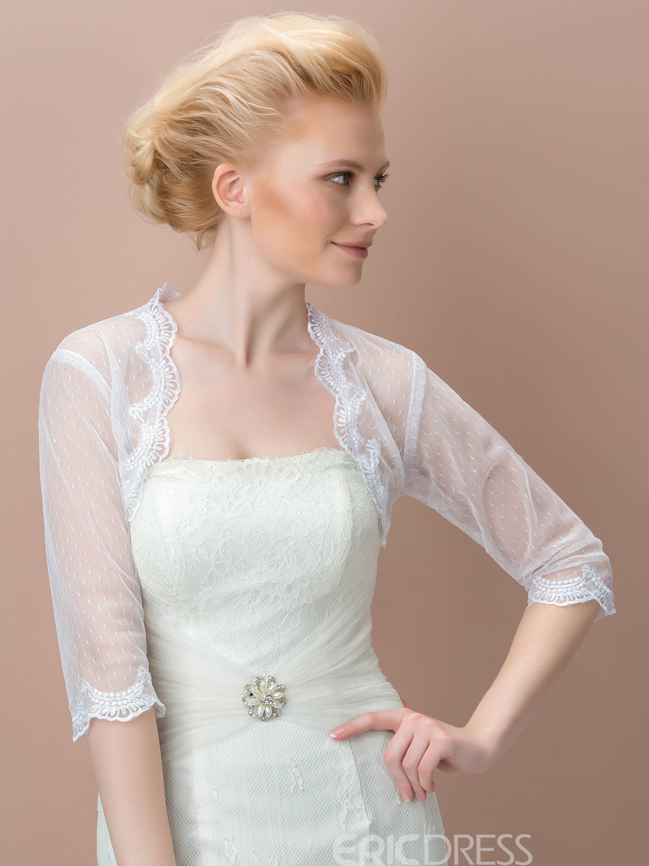 Image of 3/4 Long Sleeves Appliques Wedding Jacket