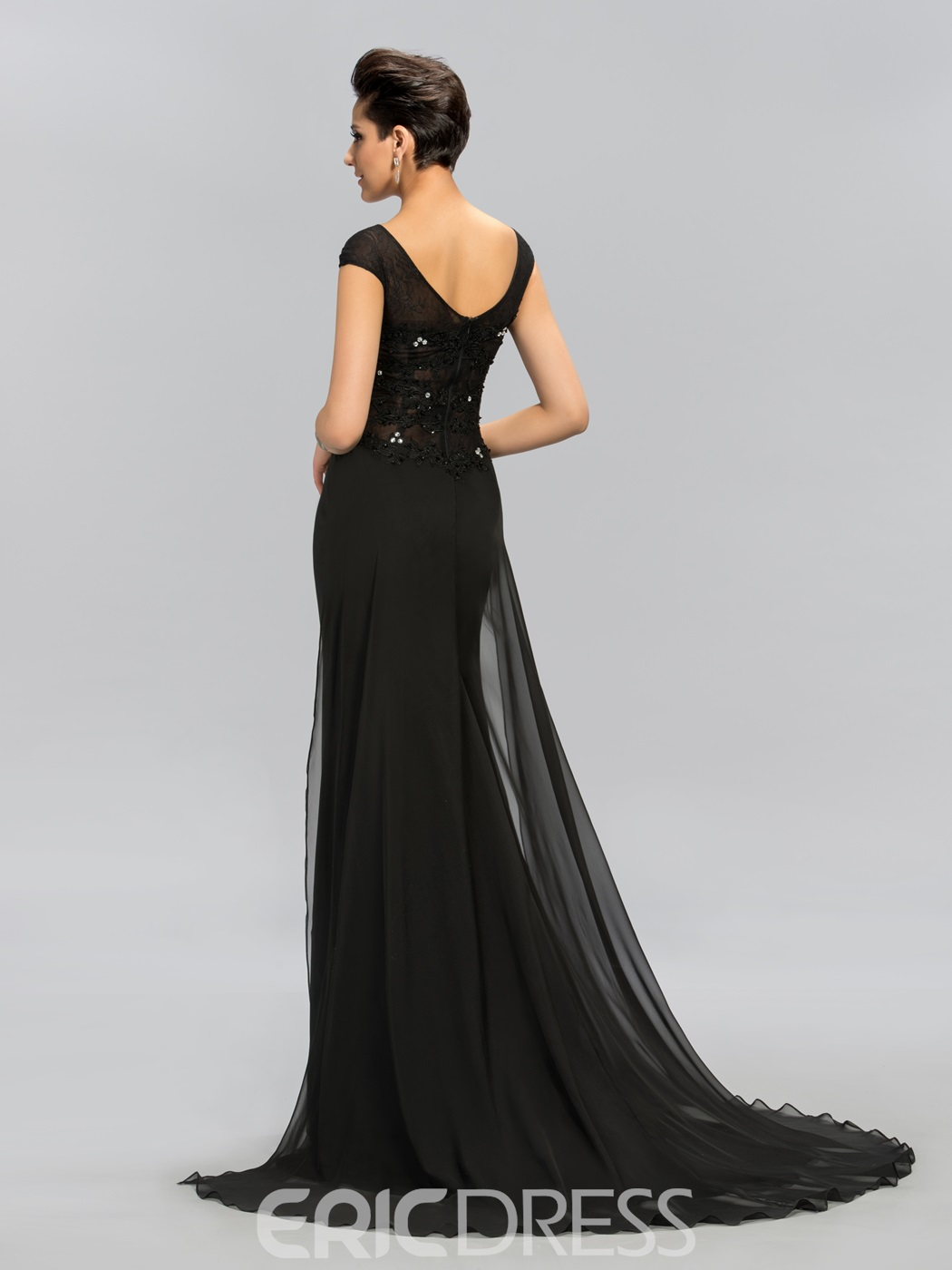 Ericdress Cap Sleeves Lace Beading Black Evening Dress