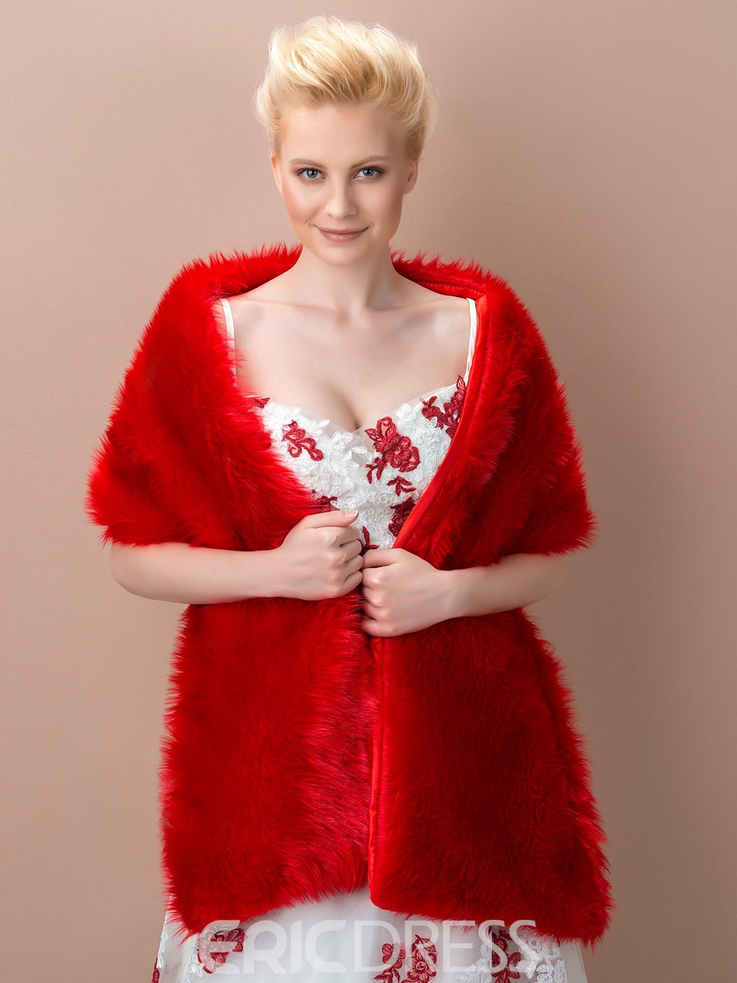 Red Fax Fur Wedding Shawl