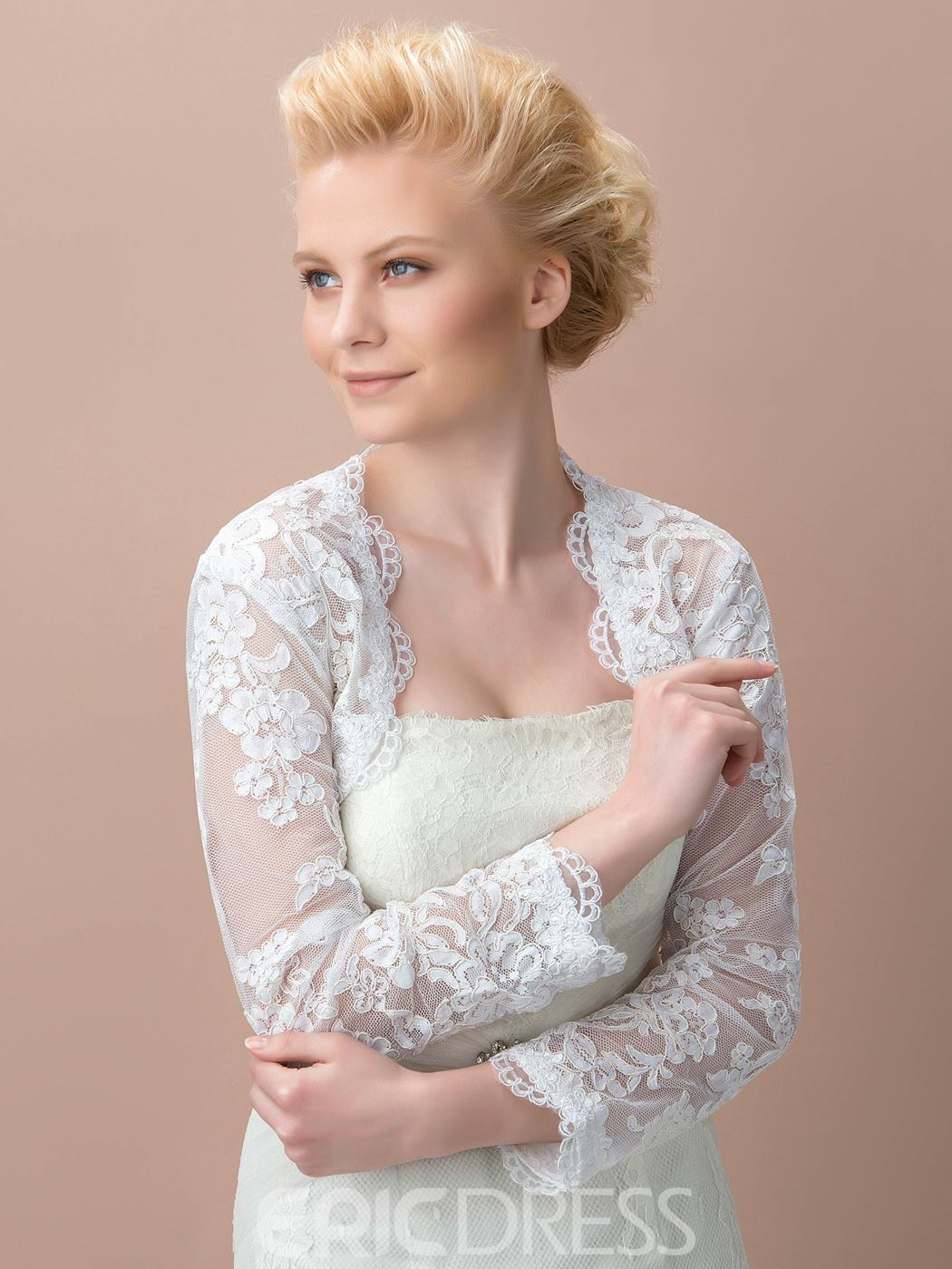 Charming Lace Long Sleeves Wedding Jacket