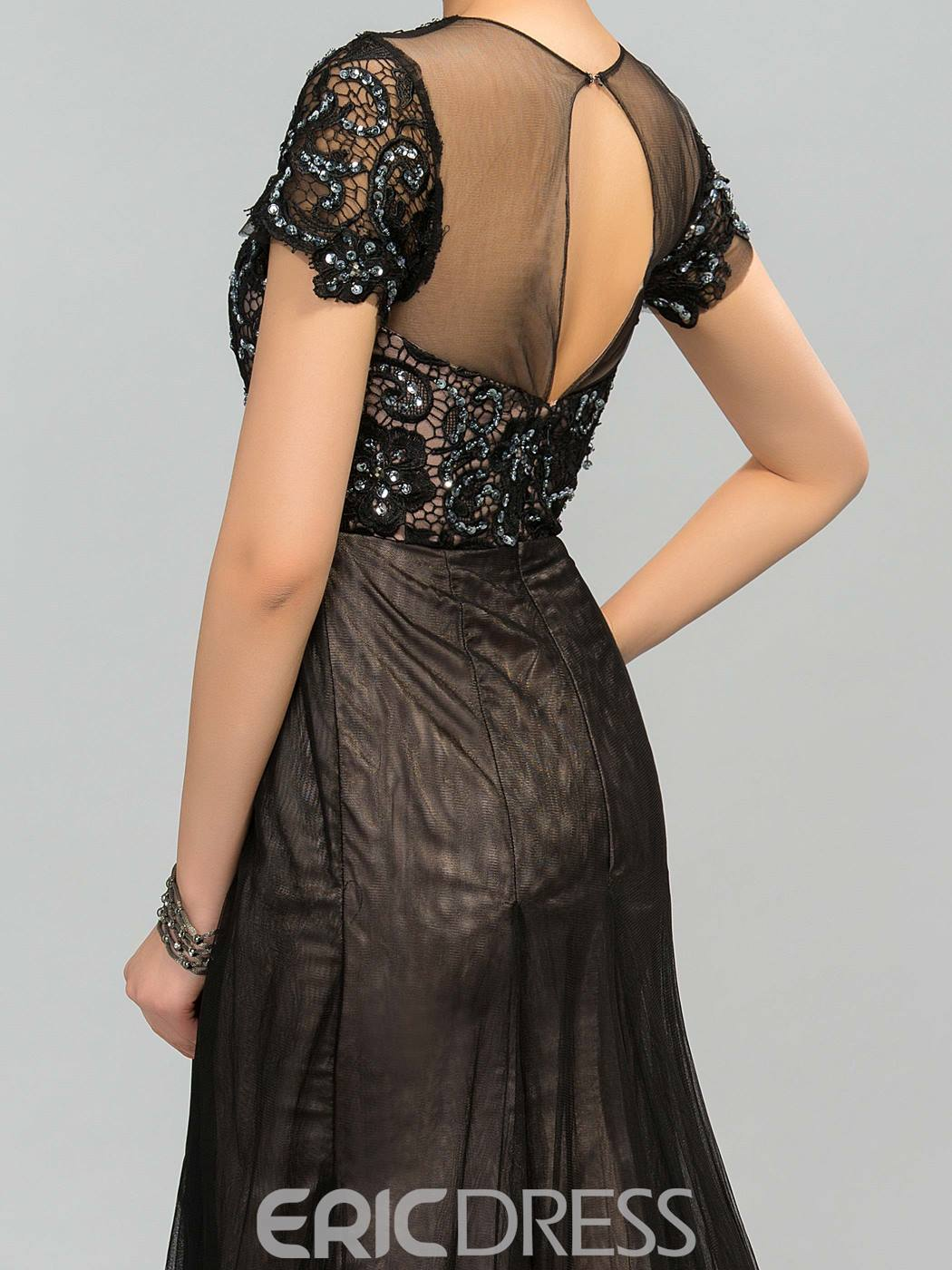 Short Sleeves Beaded Long Mother Of The Bride Dress