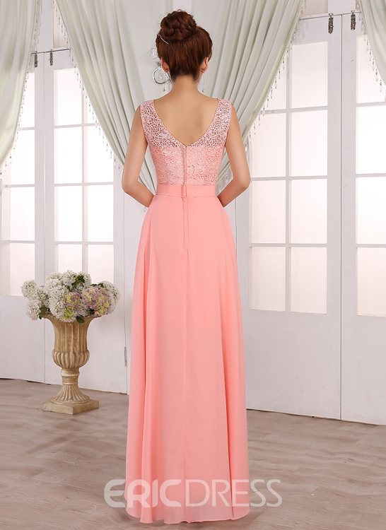 Ericdress Pretty A-Line Scoop Lace Long Bridesmaid Dress