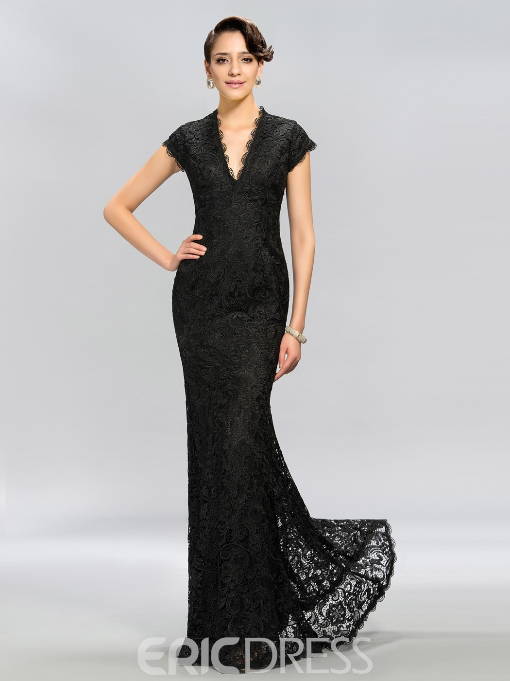 Vintage V-Neck Cap Sleeves Lace Long Evening Dress