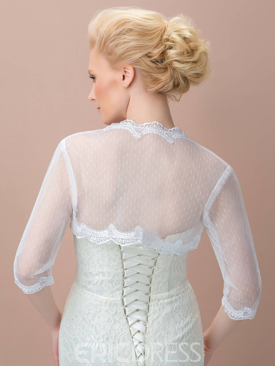 3/4 Long Sleeves Appliques Wedding Jacket