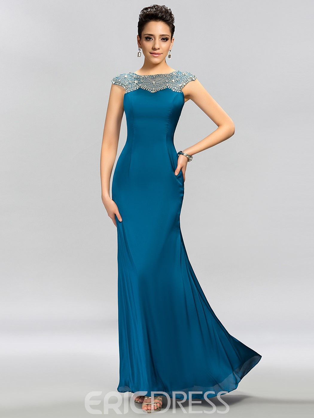 High-class Cap Sleeves Beaded Floor-Length Evening Dress