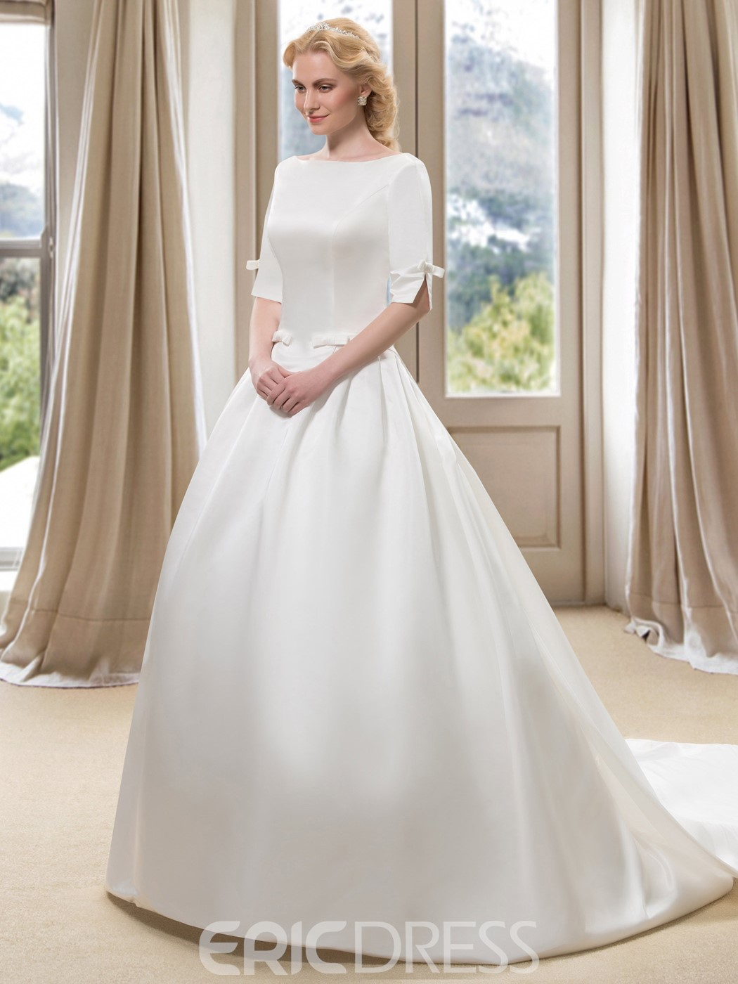 ... Modest Bateau Neck Half Sleeve Satin Ball Gown Wedding Dress With  Watteau Train ...