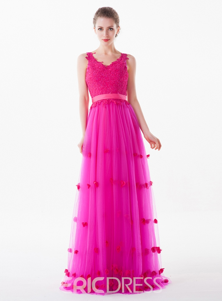 Ericdress A-Line Sleeveless Appliques Floor-Length Prom Dress