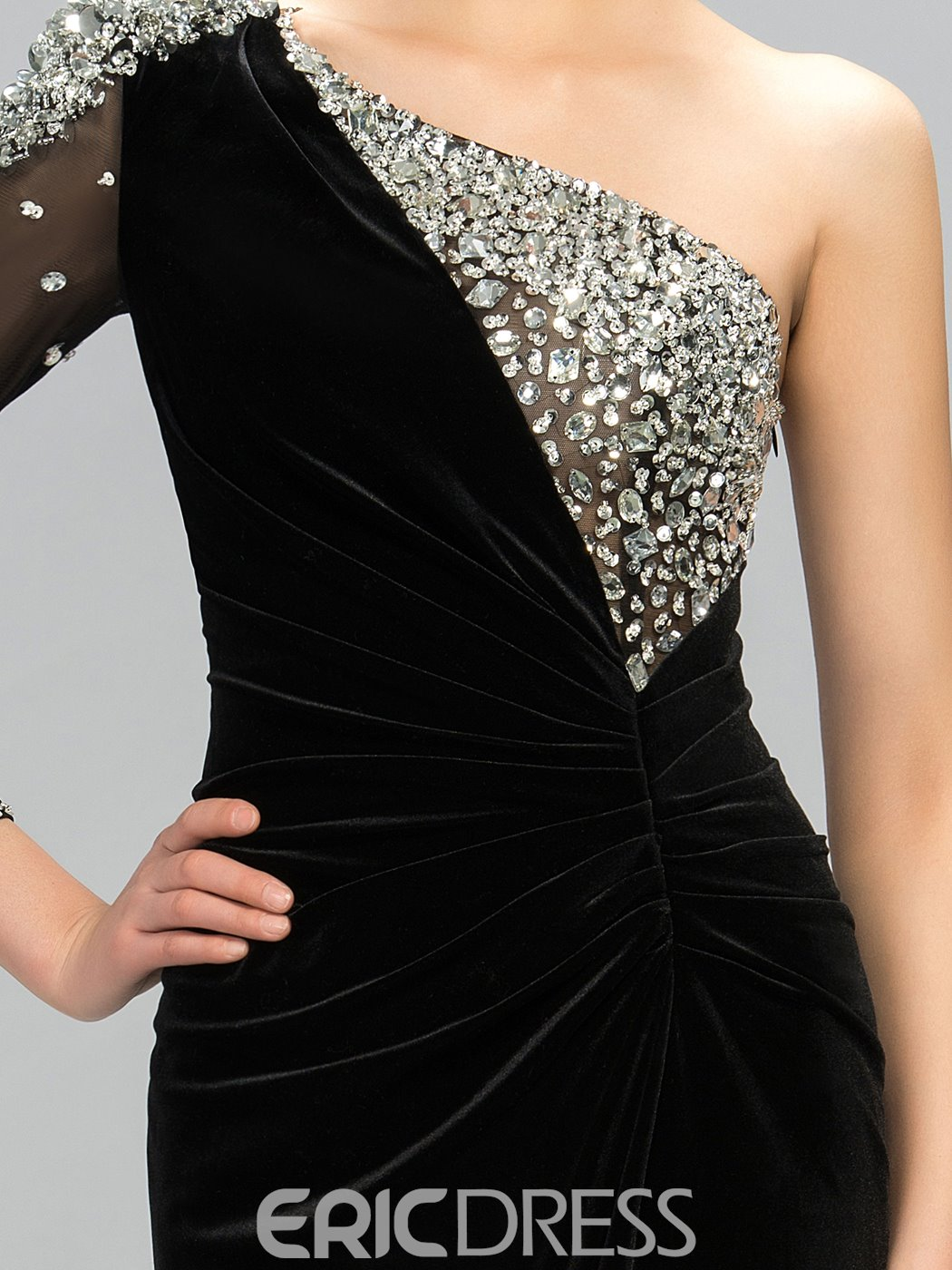 One Shoulder Split Front Mermaid Evening Dress