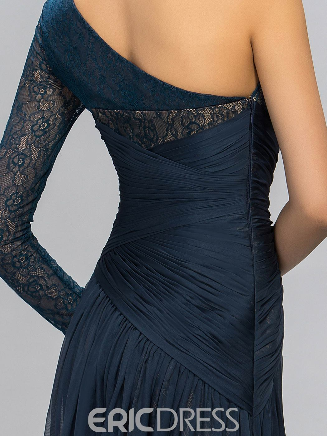 One Shoulder Lace Split Front-Evening Dress