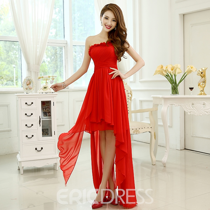 One Shoulder Asymmetry Lace-Up A-Line Bridesmaid Dress