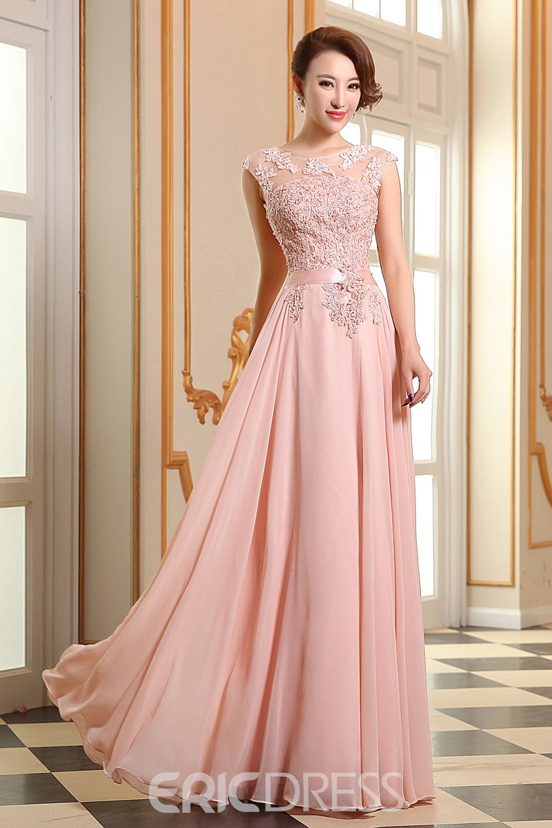 Eye-catching Appliques Lace-up Long Prom Dress 11332320 - Ericdress.com