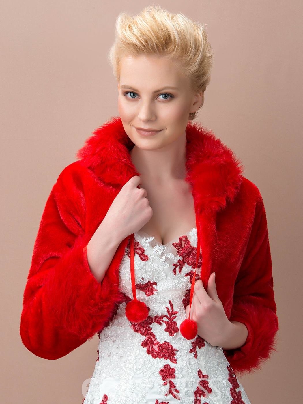 Long Sleeve Red Fax Fur Wedding Jacket