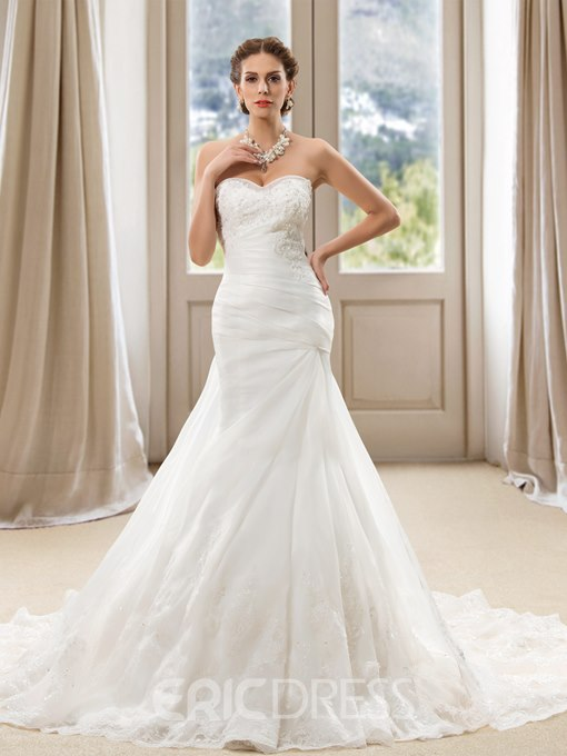 Ericdress Sweetheart Mermaid Appliques Wedding Dress