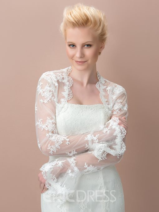 Charming Lace Appliques Long Sleeves Wedding Jacket