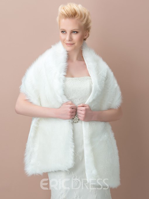 Ivory Fax Fur Long Wedding Shawl