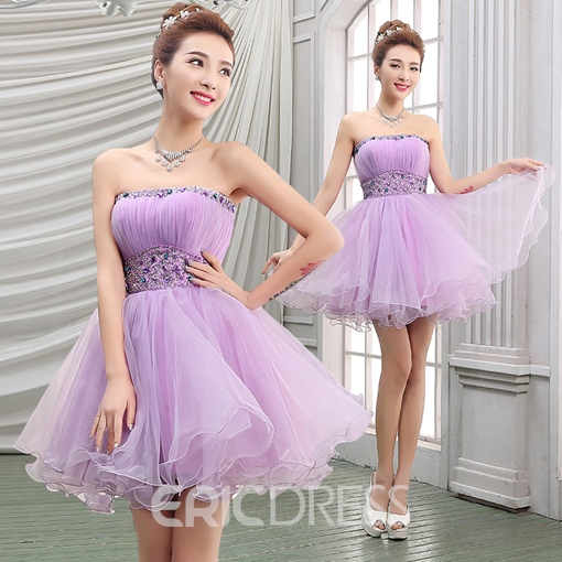Cute A-Line Strapless Empire Crystal Ruffles Short Homecoming Dress