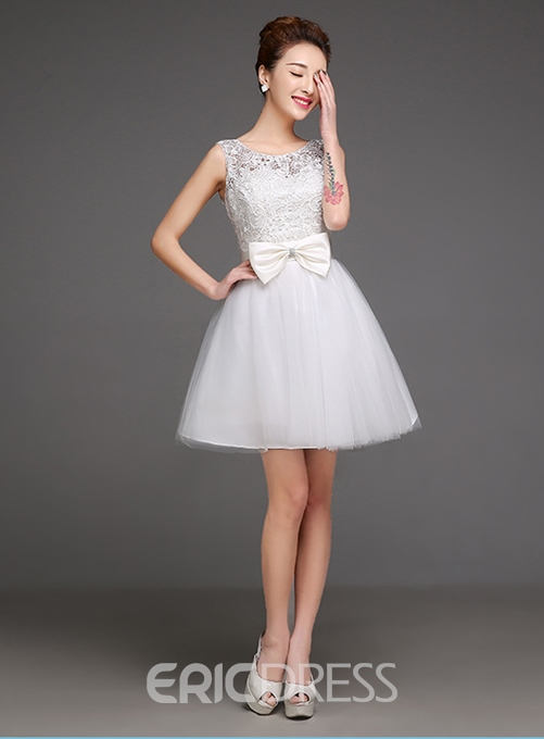 Sweet Cap Sleeves Bowknot Short/Mini Junior Prom Dress